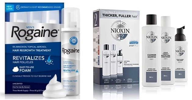 Nioxin and Rogaine Packages Side By Side