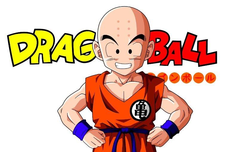 Krillin and Dragon Ball Japanese anime series logo