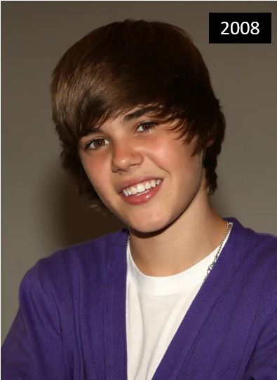 Justin Bieber with a full mane in 2008
